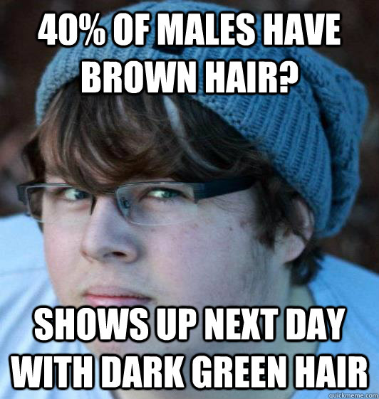 40% of males have brown hair? Shows up next day with dark green hair