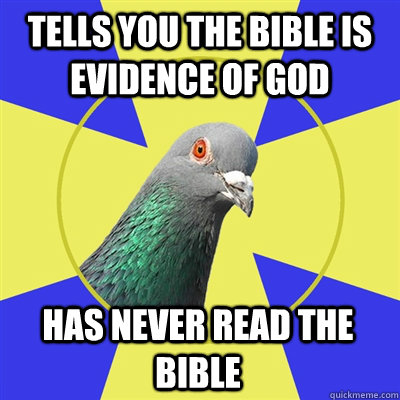 Tells you the bible is evidence of god has never read the bible  Religion Pigeon