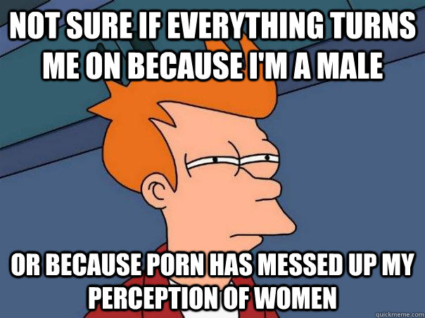 Not sure if everything turns me on because i'm a male or because porn has messed up my perception of women - Not sure if everything turns me on because i'm a male or because porn has messed up my perception of women  Futurama Fry