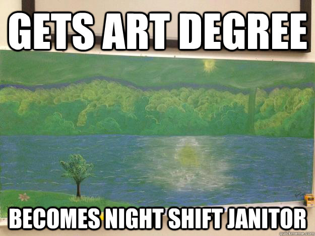 Gets art degree becomes night shift janitor - Gets art degree becomes night shift janitor  Artistic Opportunities