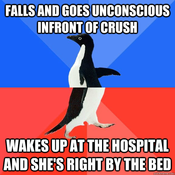 Falls and goes unconscious infront of crush wakes up at the hospital and she's right by the bed - Falls and goes unconscious infront of crush wakes up at the hospital and she's right by the bed  Socially Awkward Awesome Penguin