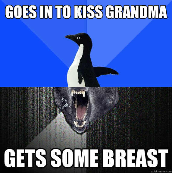 Goes in to kiss grandma gets some breast