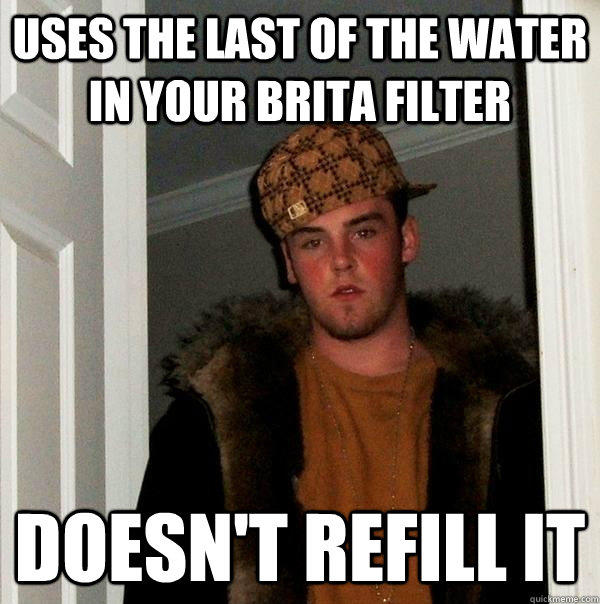 Uses the last of the water in your Brita filter Doesn't refill it - Uses the last of the water in your Brita filter Doesn't refill it  Scumbag Steve