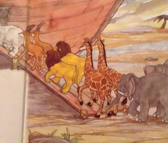 I think Noah is going to have a little trouble breeding the lions... -   Misc