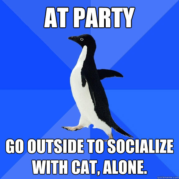 at party go outside to socialize with cat, alone. - at party go outside to socialize with cat, alone.  Socially Awkward Penguin