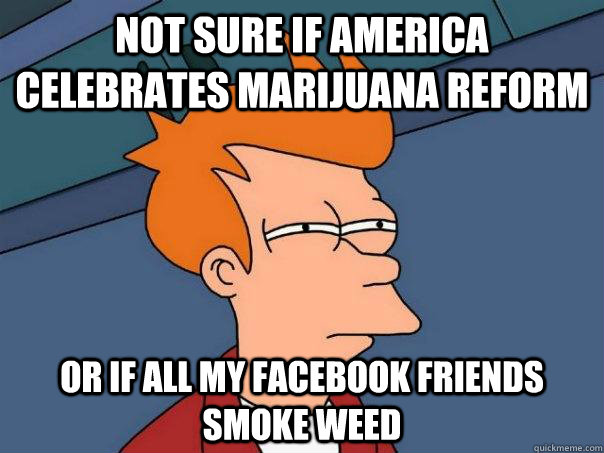 not sure if america celebrates marijuana reform or if all my facebook friends smoke weed - not sure if america celebrates marijuana reform or if all my facebook friends smoke weed  Futurama Fry