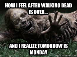 How I Feel After Walking Dead Is over.... And I realize tomorrow is Monday