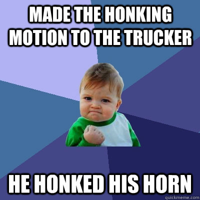 Made the Honking Motion to the Trucker He honked his horn - Made the Honking Motion to the Trucker He honked his horn  Success Kid