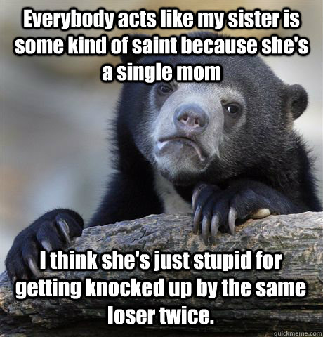 Everybody acts like my sister is some kind of saint because she's a single mom I think she's just stupid for getting knocked up by the same loser twice. - Everybody acts like my sister is some kind of saint because she's a single mom I think she's just stupid for getting knocked up by the same loser twice.  Confession Bear