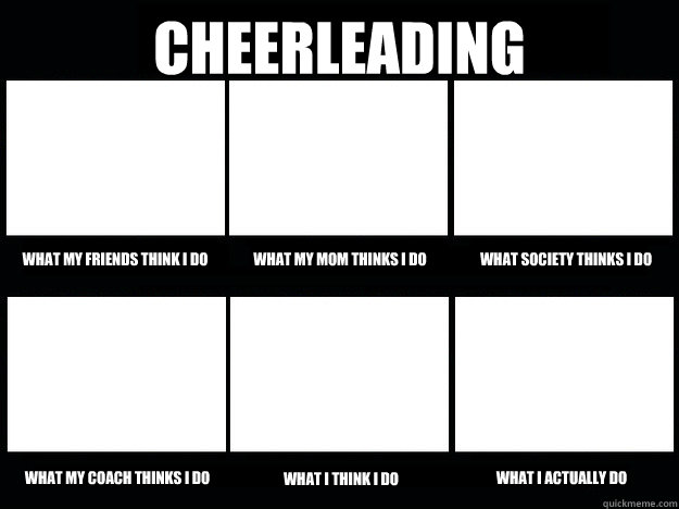 Cheerleading  What my friends think i do What my mom thinks i do What society thinks i do What my co