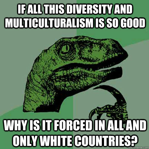 If all this diversity and multiculturalism is so good why is it forced in ALL and ONLY White countries?   Philosoraptor