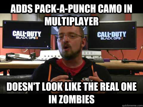 Adds pack-a-punch camo in multiplayer Doesn't look like the real one in zombies