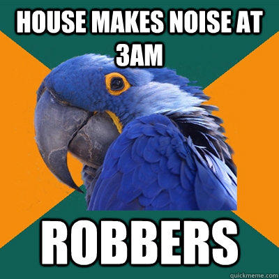 House makes noise at 3am ROBBERS - House makes noise at 3am ROBBERS  Paranoid Parrot