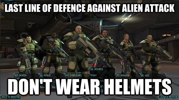 Last line of defence against alien attack don't wear helmets