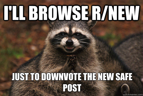 I'll browse r/new just to downvote the new safe post - I'll browse r/new just to downvote the new safe post  Insidious Racoon 2