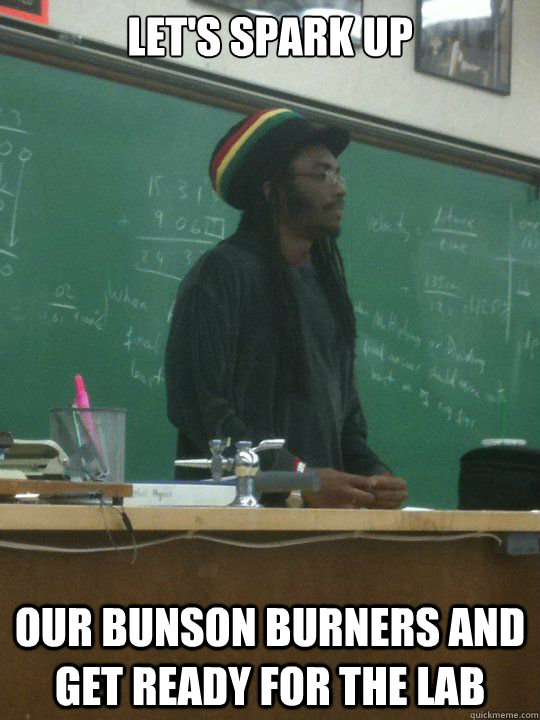 Let's spark up our bunson burners and get ready for the lab  Rasta Teacher