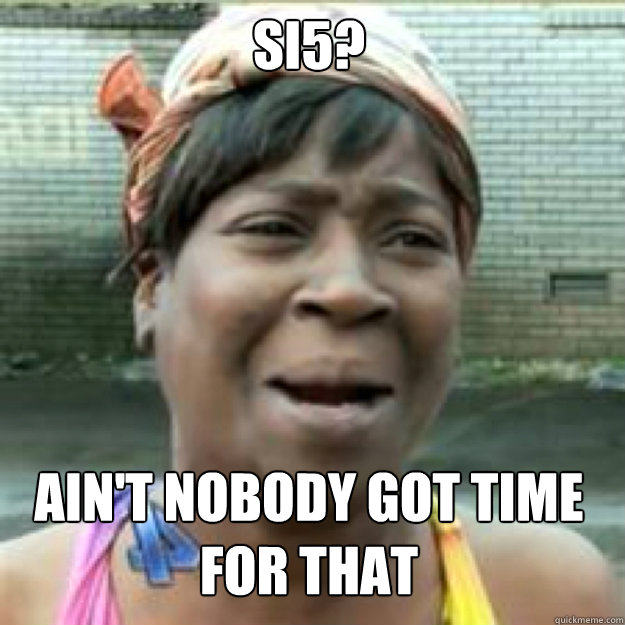 SI5? AIN'T NOBODY GOT TIME FOR THAT