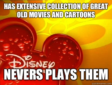 Has extensive collection of great old movies and cartoons Nevers plays them