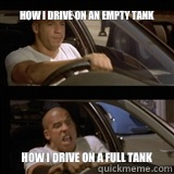 How I drive on an empty tank How I drive on a full tank