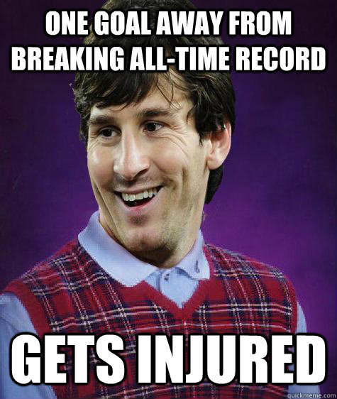 one goal away from breaking all-time record gets injured - one goal away from breaking all-time record gets injured  Misc