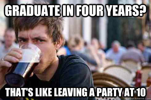 Graduate in four years? That's like leaving a party at 10 - Graduate in four years? That's like leaving a party at 10  Lazy College Senior