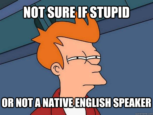 Not sure if stupid or not a native english speaker - Not sure if stupid or not a native english speaker  Futurama Fry