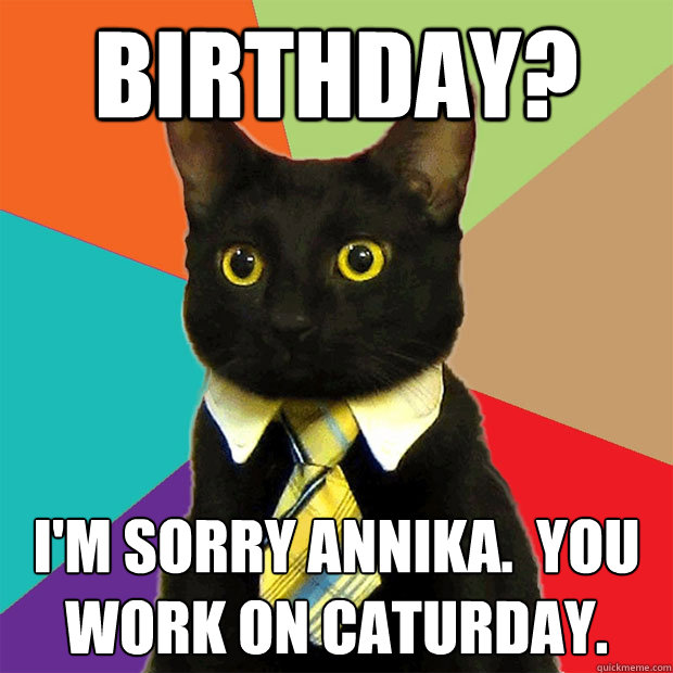 BIRTHDAY? I'm sorry Annika.  You work on caturday. - BIRTHDAY? I'm sorry Annika.  You work on caturday.  Business Cat