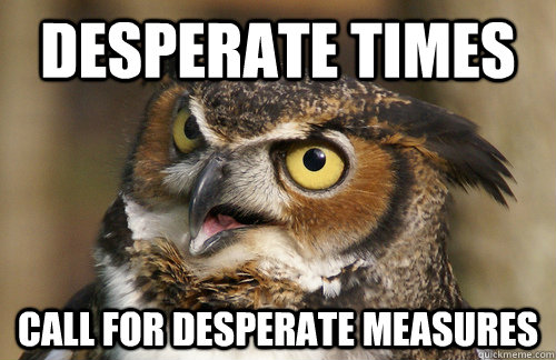 desperate times call for desperate measures  Angry Owl
