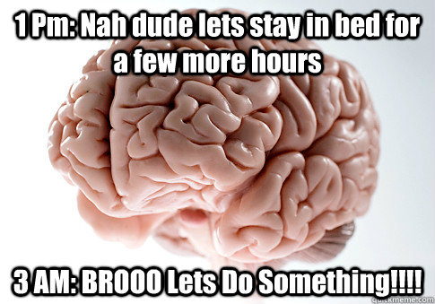 1 Pm: Nah dude lets stay in bed for a few more hours 3 AM: BROOO Lets Do Something!!!! - 1 Pm: Nah dude lets stay in bed for a few more hours 3 AM: BROOO Lets Do Something!!!!  Scumbag Brain