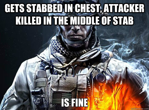 GETS STABBED IN CHEST, ATTACKER KILLED IN THE MIDDLE OF STAB IS FINE