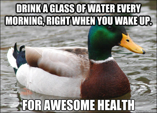 Drink a glass of water every morning, right when you wake up.  for Awesome health - Drink a glass of water every morning, right when you wake up.  for Awesome health  Actual Advice Mallard