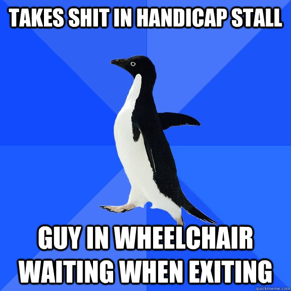 Takes In Handicap Stall Guy In Wheelchair Waiting When Exiting