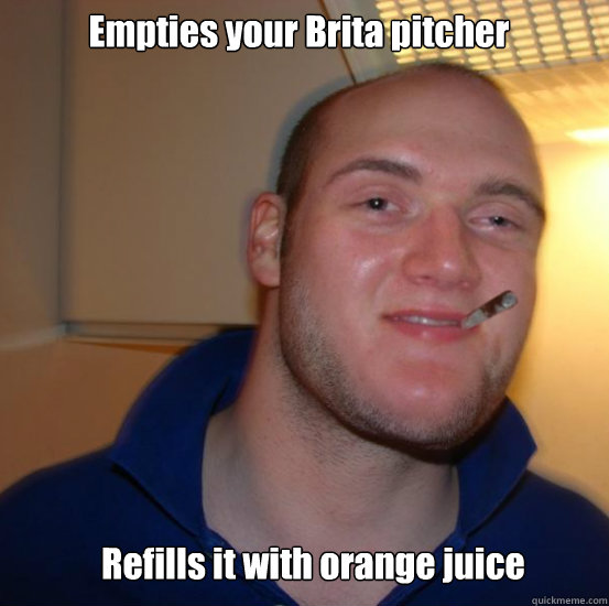 Empties your Brita pitcher Refills it with orange juice