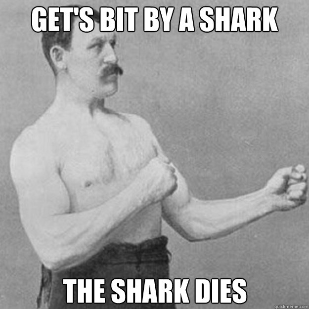 Get's bit by a shark The shark dies - Get's bit by a shark The shark dies  overly manly man