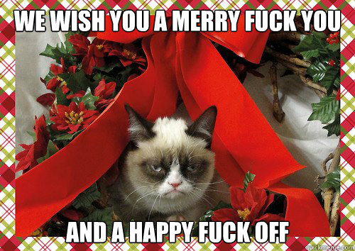 We wish you a merry fuck you and a happy fuck off  A Grumpy Cat Christmas