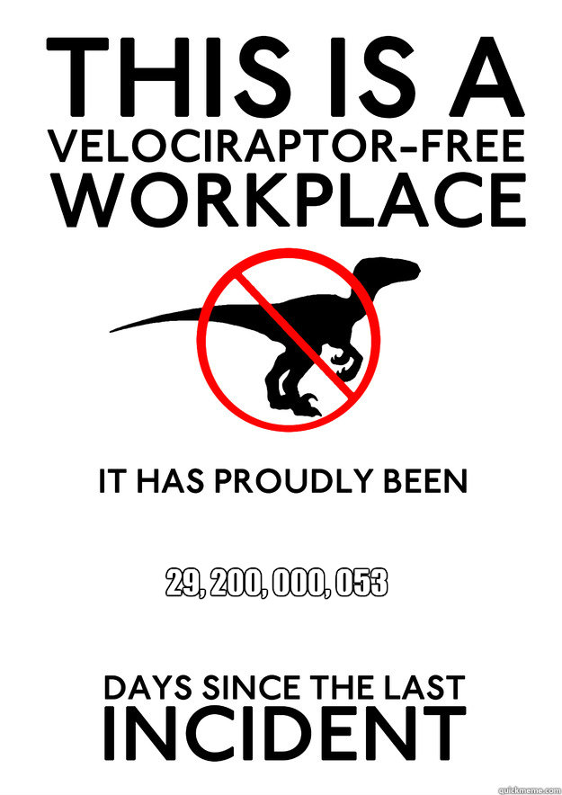 29, 200, 000, 053  (80 million years x 365 days)  Velociraptor free workplace