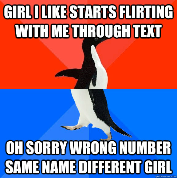 Girl i like starts flirting with me through text Oh sorry wrong number same name different girl - Girl i like starts flirting with me through text Oh sorry wrong number same name different girl  Socially Awesome Awkward Penguin
