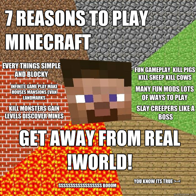 7 reasons to play minecraft get away from real !world! kill monsters gain levels discover mines slay creepers like a BOSS every things simple and blocky fun gameplay  kill pigs kill sheep kill cows you know its true >-< many fun mods lots of ways to play   Minecraft