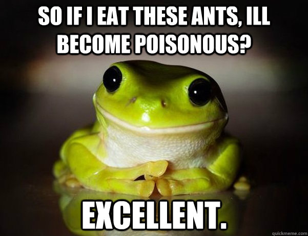 So if i eat these ants, ill become poisonous? Excellent.  Fascinated Frog