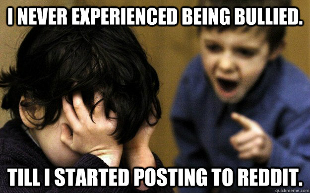 I never experienced being bullied. Till I started posting to Reddit.  - I never experienced being bullied. Till I started posting to Reddit.   Misc