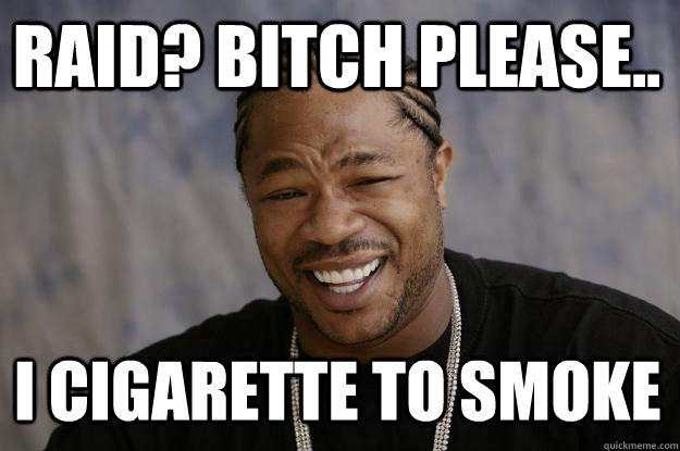 Raid? Bitch please.. I Cigarette to smoke  Xzibit meme