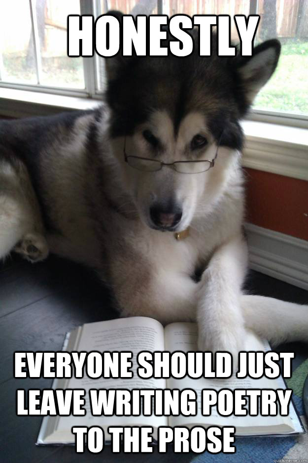 honestly everyone should just leave writing poetry to the prose  Condescending Literary Pun Dog