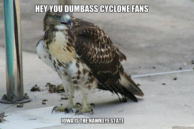 hey you dumbass cyclone fans iowa is the hawkeye state  Awkward Hawk