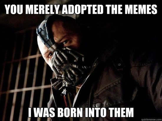 You merely adopted the memes I was born into them  - You merely adopted the memes I was born into them   Condescending Bane