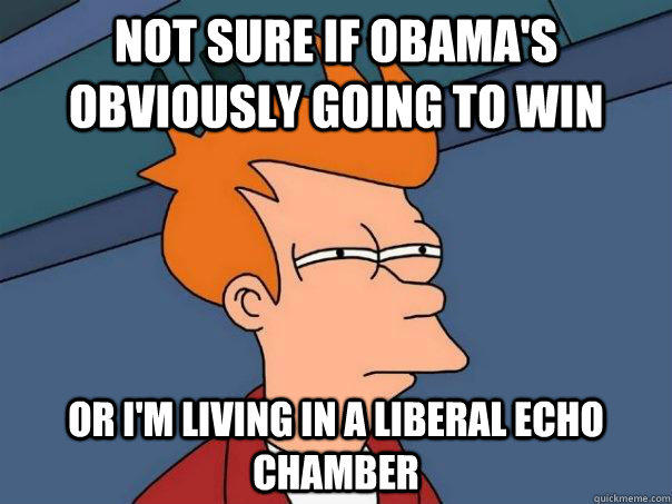 Not sure if Obama's obviously going to win Or I'm living in a liberal echo chamber  Futurama Fry