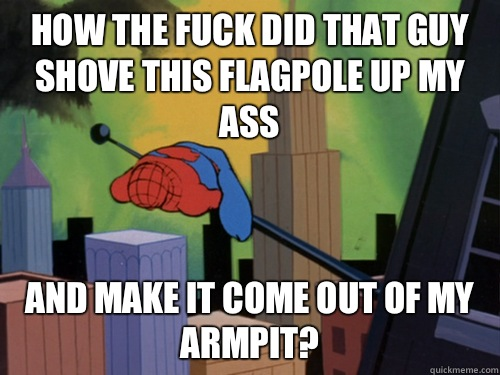 How the fuck did that guy shove this flagpole up my ass And make it come out of my armpit?