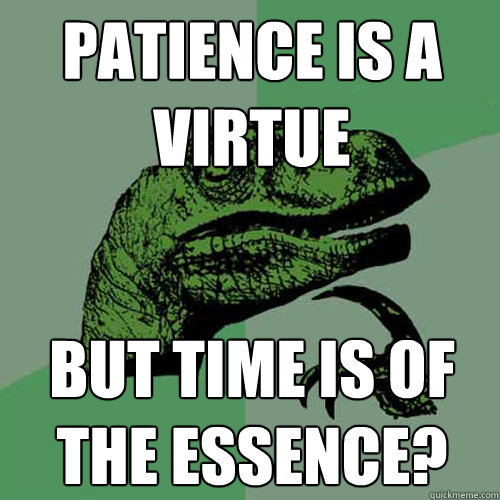 patience is a virtue but time is of the essence?  Philosoraptor