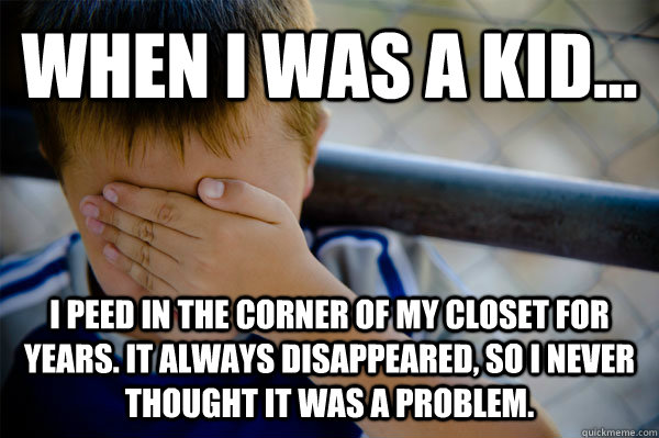 WHEN I WAS A KID... I peed in the corner of my closet for years. It always disappeared, so I never thought it was a problem.  - WHEN I WAS A KID... I peed in the corner of my closet for years. It always disappeared, so I never thought it was a problem.   Confession kid