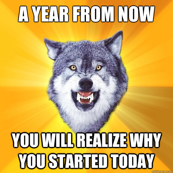 a year from now you will realize why you started today - a year from now you will realize why you started today  Courage Wolf