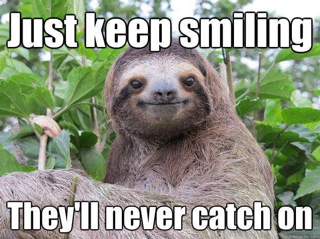 Just keep smiling They'll never catch on - Just keep smiling They'll never catch on  Stoned Sloth